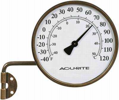 Swing Arm Brass Thermometer Indoor/Outdoor