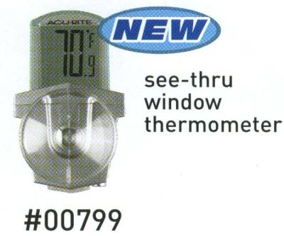 Digital Acu-Rite 00799 Outdoor Window Thermometer  W/Suction Cups