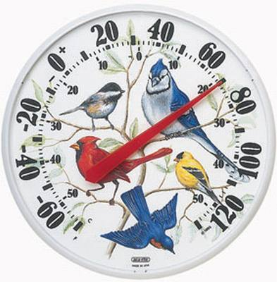 Designer Edition 12 1/2 in. Indoor/Outdoor Songbirds Thermometer