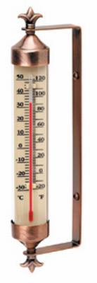 10.75 inch Weathered Copper Thermometer