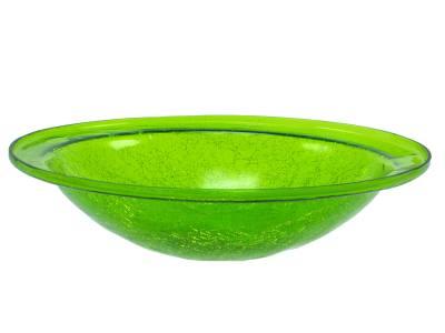 Crackle Glass Bowl Fern Green (no cradle)