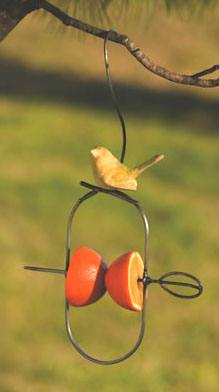 Fruit Spear with Ceramic Bird