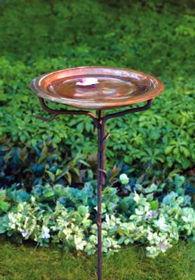 Solid Copper Birdbath with Iron Twig Base