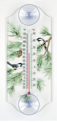 Chickadee/Pine Window Thermometer