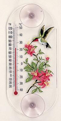 Hummingbird/Azalea  Window Thermometer