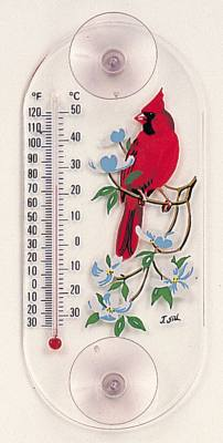 Cardinal/Dogwood Window Thermometer