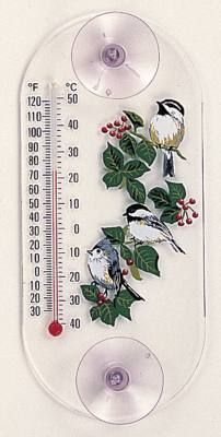 Titmouse/Chickadees  Window Thermometer