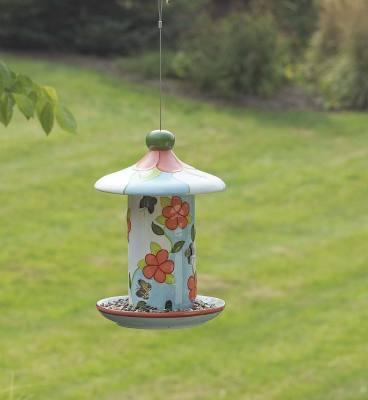 Flowers & Butterflies Ceramic Feeder