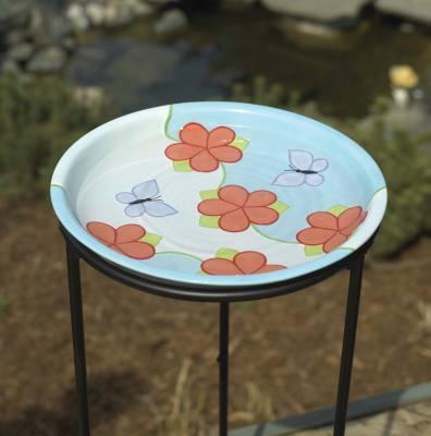 Flowers & Butterfly Ceramic Birdbath