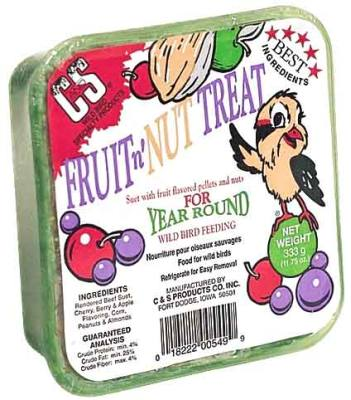 11.75oz. Fruit n'Nut Treat  Wild Bird Suet Cake