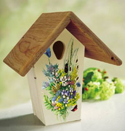 12in. Flower Illustration Bluebird Nest Box