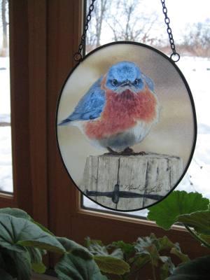 Mad Bluebird Suncatcher