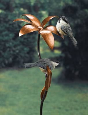 Metal Flower Chickadee Stake