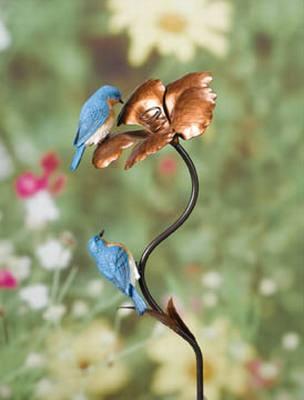 Metal Flower Bluebird Stake