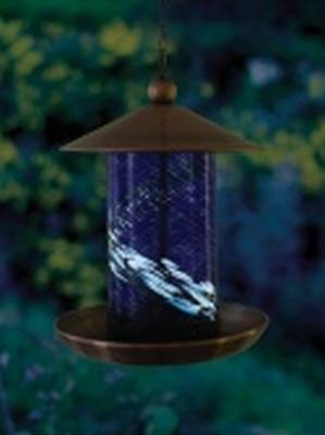 Fluted Blue Illuminarie Glass Feeder