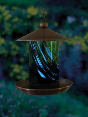 Fluted Green Illuminarie Glass Feeder