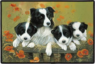Border Collie Family Porch Doormat