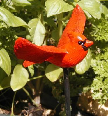 Flying Cardinal Garden Bird Stick