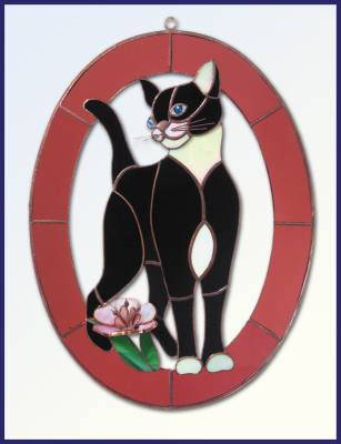 Cat and Flower – Rose 3-Dimensional Stained Glass Window Art Treatment
