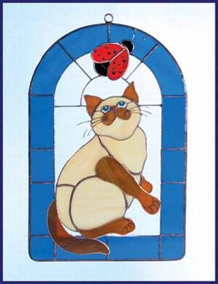 Cat & Ladybug 3-Dimensional Stained Glass Window Art Treatment