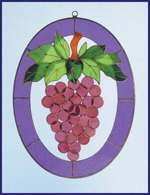 Grapes 3-Dimensional Stained Glass Window Art Treatment