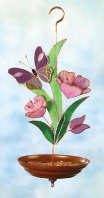 Butterfly & Flowers/Purple Bird Feeder
