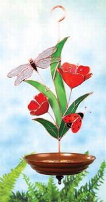 Dragonfly/Ladybug/Flowers-Red Bird Feeder