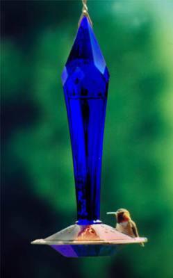 Faceted Cobalt Glass Hummingbird Feeder