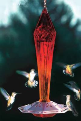 Faceted Ruby Glass Hummingbird Feeder