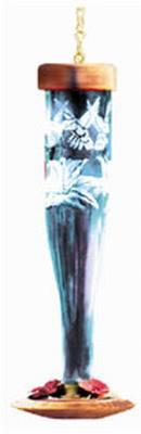Paradise Tri-Etched Sapphire Glass Hummingbird Lantern