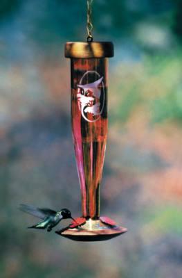 Ruby Etched Glass Hummingbird Lantern