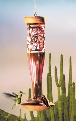 Southwest Ruby Glass Hummingbird Lantern Feeder