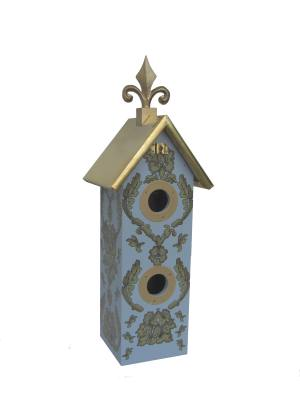 2 Hole Wine Birdhouse Blue Green