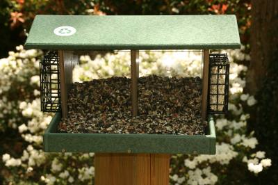 Large Double Hopper Feeder w/Suet Cagesr-Hunter Driftwood