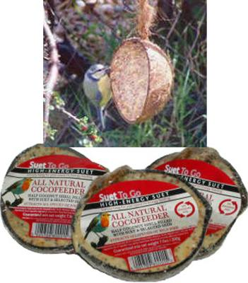 Suet Loaded Coconut Feeder
