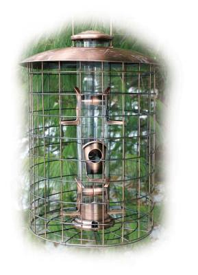 Squirrel-Proof Brushed Copper Seed Tube Bird Feeder