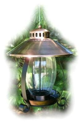 Brushed Copper Lantern Bird Feeder