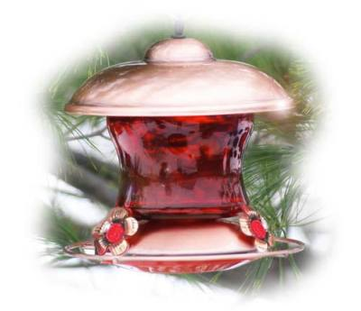 Brushed Copper & Ruby Glass  Hummingbird Feeder