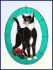 Cat and Flower – Teal 3-Dimensional Stained Glass Window Art Treatment
